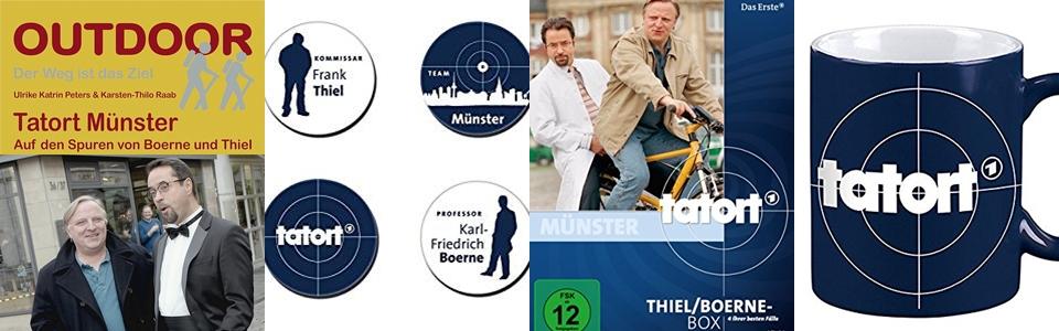 Tatort ist eine Fernseh-Kriminalreihe von ARD, ORF und SRF. (Bilder/Copyright v.l.: Conrad Stein Verlag, Moses Verlag, Das Erste/WDR, Moses Verlag)